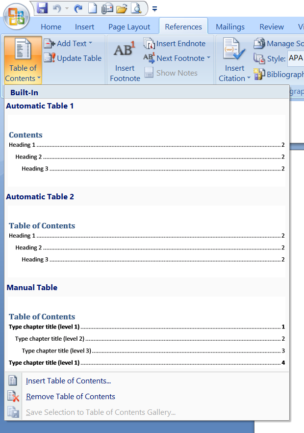 how to make page numbers start after table of contents